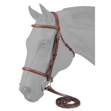EquiRoyal Premium Leather Raised Snaffle Bridle W/Laced Reins