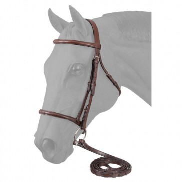 EquiRoyal Premium Leather Raised Snaffle Bridle Fancy Stitched W/Laced Reins Cob