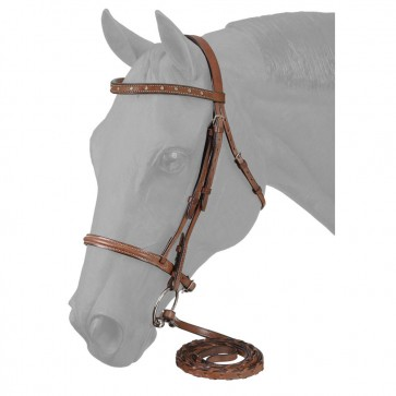 Raised Snaffle English Bridle W/Spaced Stone Crystals