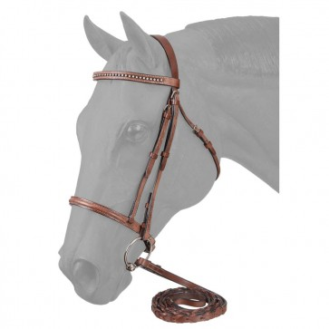 Raised Snaffle English Bridle W/Stone Crystals