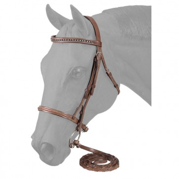 Raised Snaffle English Bridle W/Silver Link & Blue Stone Crystals