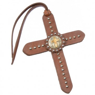 Tie On Leather Cross W/Silver Dots & Gold Cross Concho