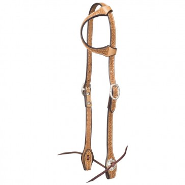 Tough-1 Leather Single Ear Headstall - Basket Stamp w/ Silver Hardware
