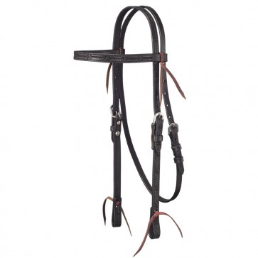 Tough-1 Leather Straight Brow Headstall w/ Barbed Wire Detail