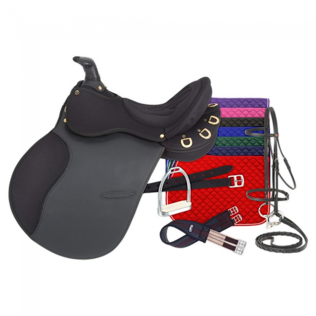 Eclipse By Tough 1 Pro Am Trail Saddle With Horn 6 Piece