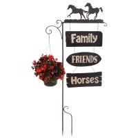 Garden Stake Horses with Plant Hanger