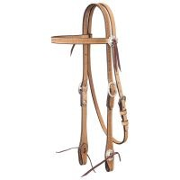 Tough-1 Leather Straight Brow Headstall - Basket Stamp w/ Silver Hardware