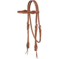 Basket Stamped Premium Cowhide Tapered Browband Headstall