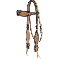 Flared Two Tone Floral Cowhide Headstall