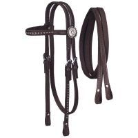 Nylon Headstall with Leather Overlay and Silver Dots with Reins