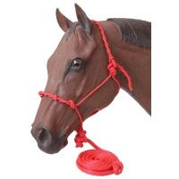 Tough-1 Poly Rope Halter W/Knots & 14ft Lead