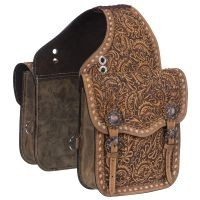 Leather Floral Tooled Saddle Bag