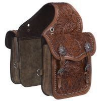 Leather Floral and Oak Leaf Tooled Saddle Bag