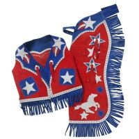 Premium Youth Chap and Vest Set with Barrel Horse and Star Design