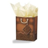 Tooled Leather Small Gift Bag