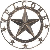 "18"" Antiqued Decorative Welcome Metal Star"