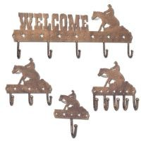 4 Piece Metal Equine Motif Hook Set