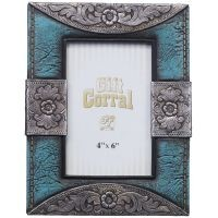 Turquoise Leather and Silver Accents Frame