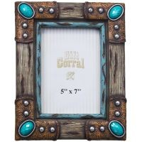 Wood and Turquoise Stone Accents Frame