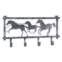 Horses and Barbwire Wall Rack in Hammered Finish
