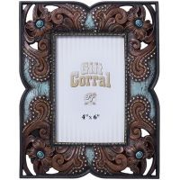 Floral Leather and Turquoise Frame