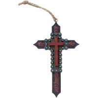 Paisley Cross and Turquoise Beads Ornament