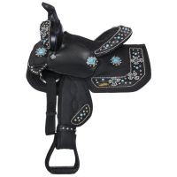Eclipse by Tough 1® Starlight Collection Pro Miniature Trail Saddle with Turquoise Cross Conchos