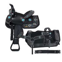 Eclipse by Tough 1® Starlight Collection Pro Miniature Trail Saddle with Turquoise Cross Conchos 5 Piece Package