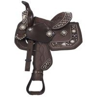 Eclipse by Tough 1® Starlight Collection Pro Pony Trail Saddle with Turquoise Cross Conchos