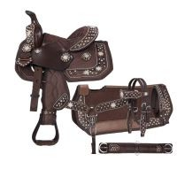 Eclipse by Tough 1® Starlight Collection Pro Miniature Trail Saddle with Spur Rowel Conchos 5 Piece Package