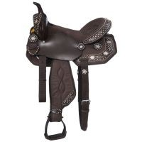 Eclipse by Tough-1 Starlight Collection Pro Trail Saddle with Spur Rowel Conchos