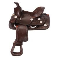 "8"" Miniature Western Tooled Trail Saddle w/Conchos"